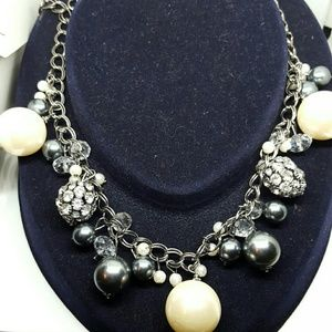Gray and white pearl with rhinestones necklace
